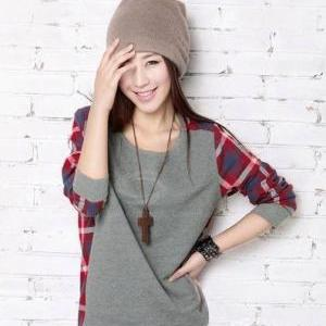 Plaid Splicing Long Sleeves Cotton ..