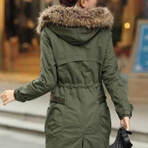 Green Womens Winter Coats Faux Fur ..