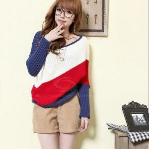 Large Boat Neck Color Block Dolman ..