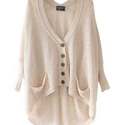 Lazy Loose Bat Hollow Sweater-2828..