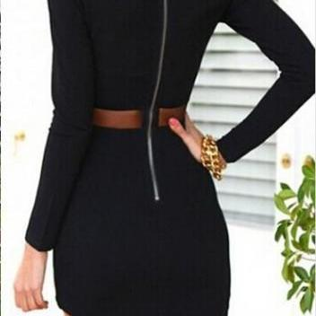 Long Sleeve Round Neck Asymmetric H..