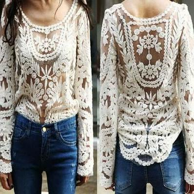d610b16c1 Hollow Out Long Sleeve Crochet Lace Blouse Tops For Women on Luulla