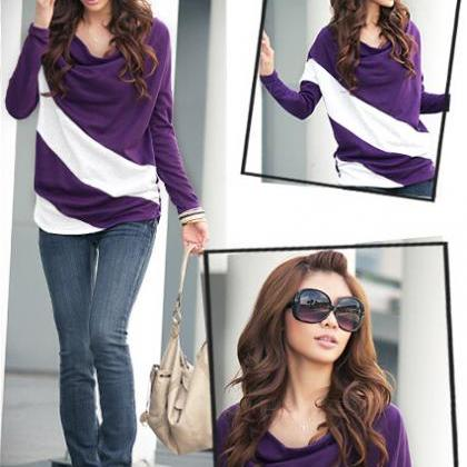Women Long Sleeve Stripe T Shirt To..