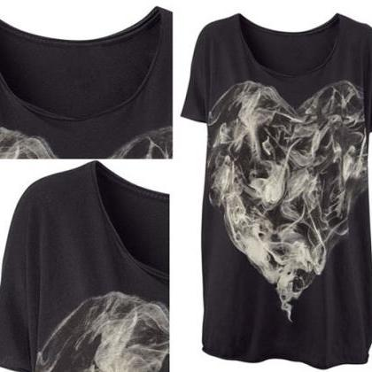 Cool Smoke Love Painted Printing T-..