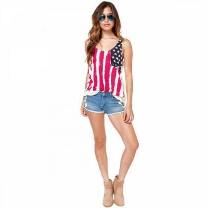 American Flag Printed Sleeveless Ch..
