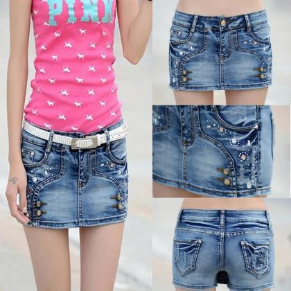 Denim Shorts Skirts Summer Skirt Ne..