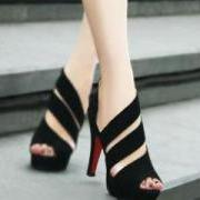 New Stylish Handmade Black Straps High Heel Sandals