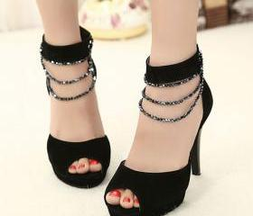 Beaded Ankle Strap H..