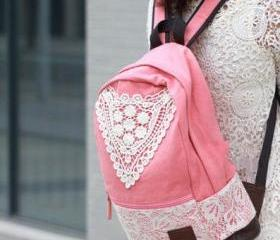 Pink Canvas Lace Bac..