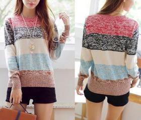 Color Stripe Long Aleeved Sweater