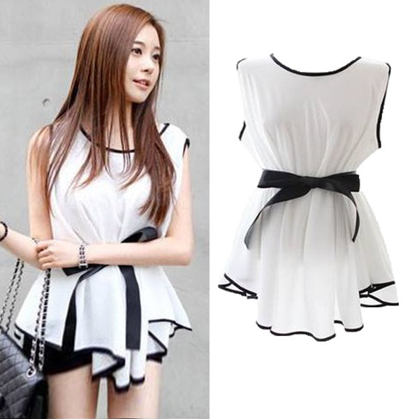 adfcb8a32cd0f Fashion Women Blouse Tops Irregular Sleeveless Chiffon Shirt Peplum With  Belt
