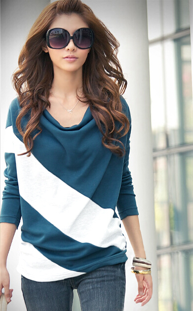 Women Long Sleeve Stripe T Shirt Tops