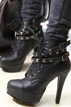 Sexy Vintage Style Buckle Ultra High Heel Faux Leather Platform Boots