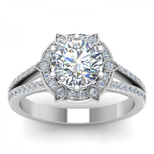 Classic Wedding Bride Ring Fancy 6 Prong Engagement Wedding Ring For Women With Round Cubic Zircon Stone Ring