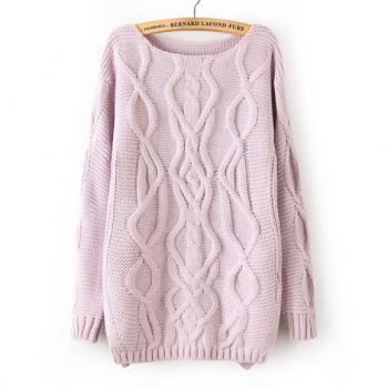 The spring and autumn period and the new fashion in Europe and America sets round collar open fork sweater