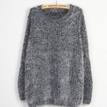 Grey Mohair Crew Neck Long Sleeved Oversized Sweater