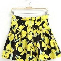 Folk Style Contrast Color Overall Flower Print Pleated Skirt