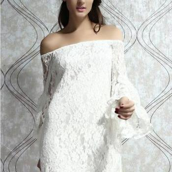 Elegant Sexy Tassels White Lace Dress&Party Dress