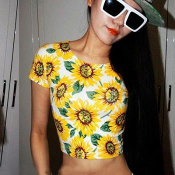 Sunflower Printed Crop Top T-Shirt
