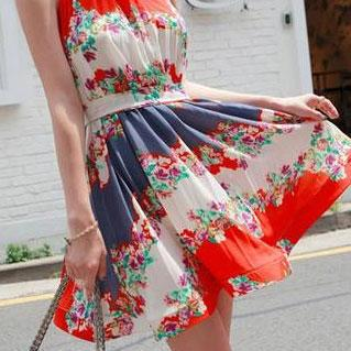Bohemia Style Fresh Flower Print Bowknot Pleated Chiffon Party Dress