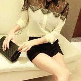 Contrast Color Fringe See Through Mesh Lace Top Shirt Blouse