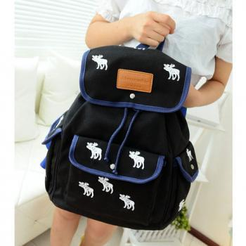 Cute Leisure White Deer Mixing Color Canvas Backpack - Black