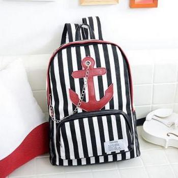 Striped Nautical-Themed Backpack Featuring Anchor Design