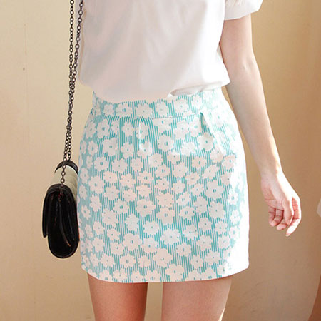 Cute Sweet Blue Floral Print Skirt