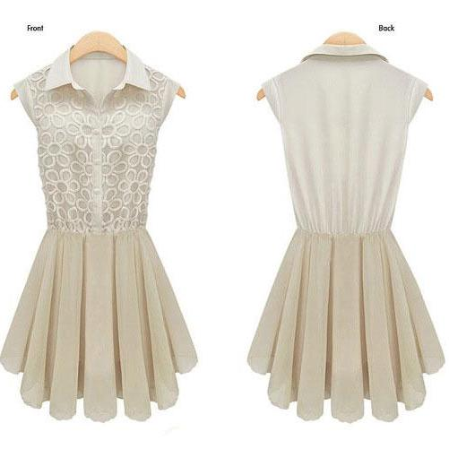 Nice Eembroidery Stitching Sleeveless Organza Dress