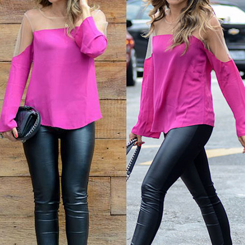 Sexy Transparent Gauze Spliced Long-Sleeved Women Chiffon Shirt