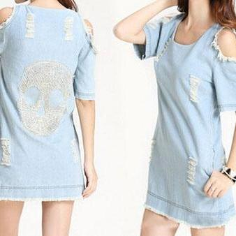 Sleeveless Denim Vest Package Hip Dress AD100816HJ