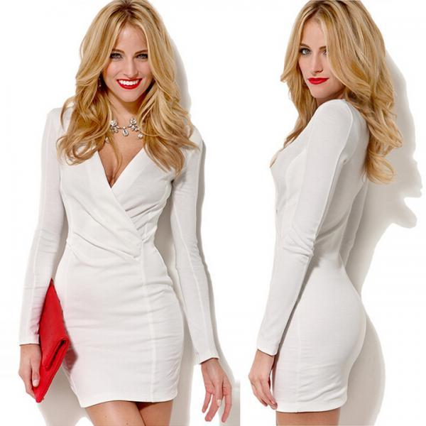 Women Deep V-Neck Long Sleeves Slim Bodycon Pencil Dress Sexy Mini Dresses