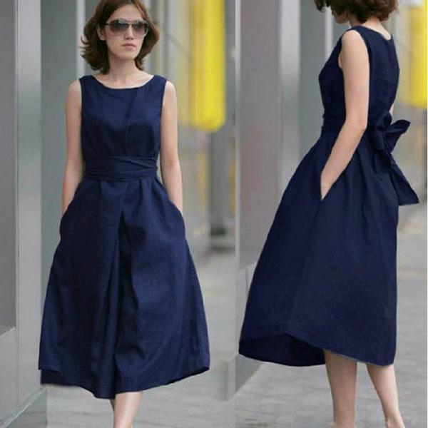 Pure Linen Material Of Large Size Dress (With Belt) GFHV