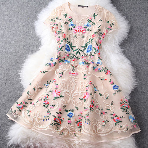 Mixed Color Flower Embroidery Cap Sleeve Bodycon Skater Dress MJKL