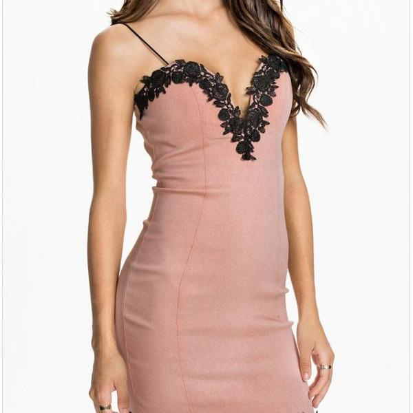Lacework V Neck Sexy Slim Fit Strap Dress For Women