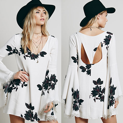 Fashion Flare Sleeve V-Neck Floral Print Chiffon Dress