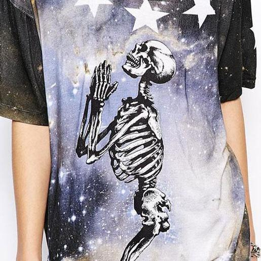 Bright Star Skull Skeleton Printed T-Shirt