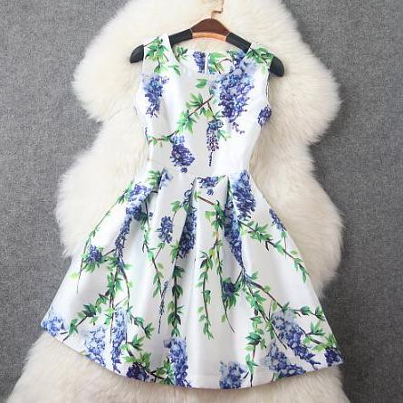 Fashion Printed Set Diamond Thin Vest Dress