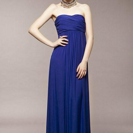 Blue Strapless Pleated Chiffon Dress