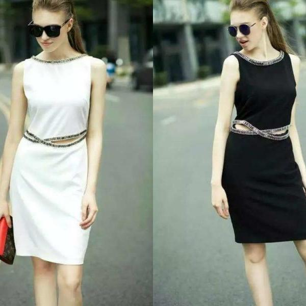 Women New Luxury Diamond Beaded Dress